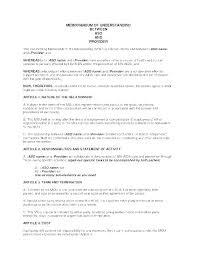 Letter Of Understanding Template Word Memorandum Of Agreement Sample Template