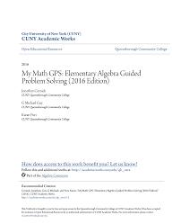 my math gps elementary algebra guided problem solving 2016 edition