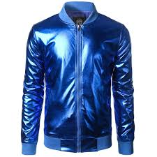 whole new trend metallic royal blue jacket men women er veste homme 2016 night club fashion slim zipper baseball varsity jacket black leather