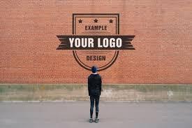 logo graffiti on brick wall effect