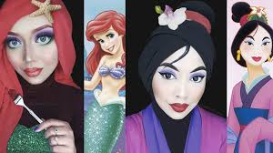 woman uses her hijab and makeup to recreate clic disney character looks