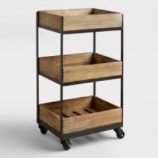 3-Shelf Wooden Gavin Rolling Cart