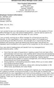 Sample Front Office Manager Cover Letter Sample For The Bank Manager
