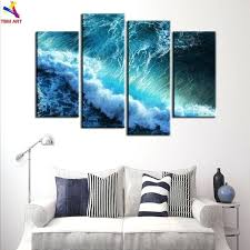 unframed ocean wave picture wall art gift for living room decoration spray painting printed oil waves glass wall art panels ocean waves