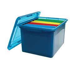 Office file boxes Portable File Staples Staples Letterlegal File Box Translucent Blue 140086 Staples