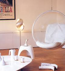 hanging bubble chair look for modern white living room