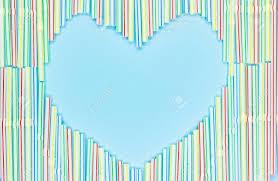 Light Blue Straws Heart Frame Of Colored Plastic Straws On Light Blue Background