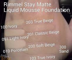 Rimmel Stay Matte Foundation Color Chart Rimmel Stay Matte Liquid Mousse Foundation Swatches Stay