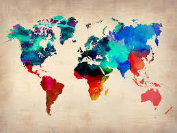 map of the world painting watercolor world map 3 by naxart studio