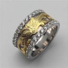 18k gold custom two color ring white gold and yellow gold ring