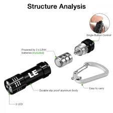 Lighting Ever 1200012 Le Mini Led Keychain Flashlight Battery Powered Key Chain Flashlights