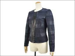 tolly birch tory burch no collar leatherette jacket navy lady s leather size 2 xs rank leather blouson outer fall and winter