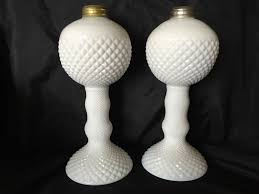 2 english hobnail white milk glass diamond dot round oil lamps base 7 tall