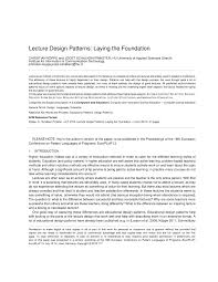 Design Patterns Lecture Pdf Lecture Design Patterns Laying The Foundation