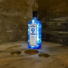 Glass Bottle Lamps Upcycled Bombay Sapphire Bottle Lamp Glass Bottleswhithlights