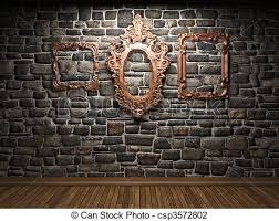 illuminated stone wall and frame csp3572802 on stone wall artwork with illuminated stone wall and frame made in 3d