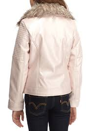 jessica simpson faux leather moto jacket with fur collar girls 7 16 pink kids girls