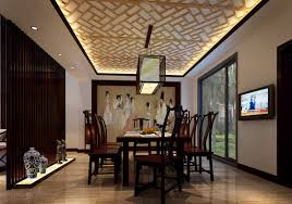 Dining Room:Open Plan Dining Room With Triple White Pendant Lamps Oriental  Dining Room Concept