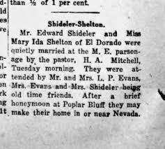 Edward Shideler & Mary Ida Shelton Marriage Aug 22, 1923 - Newspapers.com