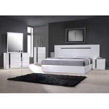 J&M Palermo Contemporary King Bedroom Set in White Lacquer and Chrome Set 5Pcs
