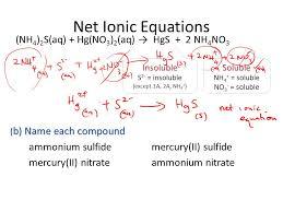 net ionic equations nh4 2s aq hg no3 2
