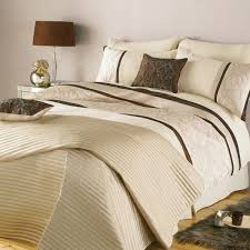 modern bedroom design with brown cream double quilt duvet cover set modern mirrored bedside table