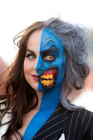 awesome lady two face makeup