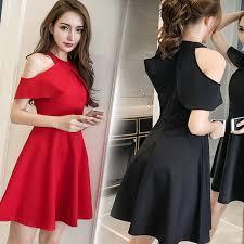 Korean <b>Fashion Ladies</b> Lotus Leaf Elegant <b>Mini Dinner</b> Dresses ...