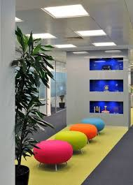 good office design. colour and artefacts are a good way to reflect your brand in office design