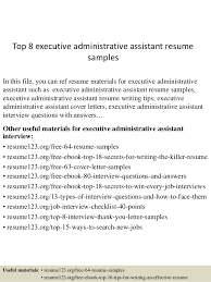 top 8 executive administrative assistant resume samples in this file you can ref resume materials executive administrative assistant resume