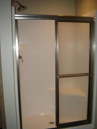 shower door installed on prefab shower