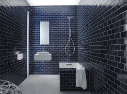 Delighful Dark Blue Bathroom Tiles Navy Subway N To Inspiration