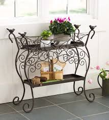 Two-Shelf Wrought Iron Plant Stand | Plant Stands | Use both shelves,  designed