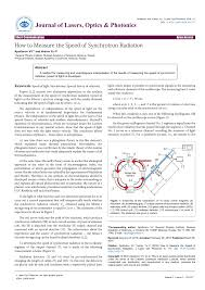 How They Measure The Speed Of Light Pdf How To Measure The Speed Of Synchrotron Radiation