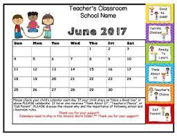 Behavior Clip Up Chart Calendar 2016 17 Stick Kids