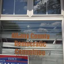 shots were fired through the window of the headquarters of the albany county democratic committee