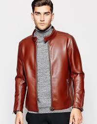 asos brand faux leather racing biker jacket