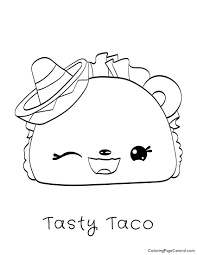 Num Noms Tasty Taco Coloring Page Coloring Page Central