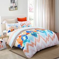 orange red blue and salmon chevron stripe modern bohemian bright colorful high fashion 100 cotton full queen size bedding sets