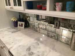 Enchanting Mirrored Tile Backsplash For Modern Home Design Idea:  Mesmerizing Mirrored Tile Backsplash With White Kitchen Cabinet And White  Marble ...