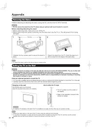 appendix removing the stand setting the tv on the wall sharp aquos lc 46bd80un user manual page 56 65