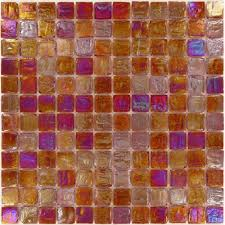 scarlet red 1 x 1 glossy iridescent glass tile