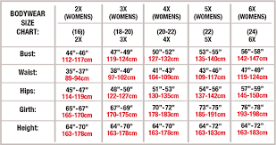 Women S Size Chart Body Wrappers Retailers Only