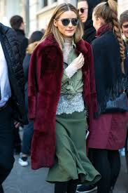 olivia palermo in mfw 2017 wearing fur coat