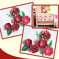 Paper Flower Video Us 17 06 39 Off Handmade Cardstock Red Rose Diy Paper Flowers Leaves Set For Christmas New Year Backdrops Decorations Video Tutorials In Artificial