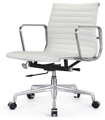 office chair white leather. M341 Eames Style Aluminum Group Office Chair In White Leather Desk A