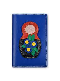 <b>Обложка</b> на <b>паспорт</b> синяя, MATRYOSHKA, коллекция FOLK ...