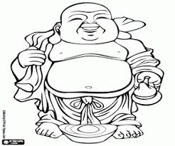 Smiling Buddha With Big Belly Coloring Page Printable Game