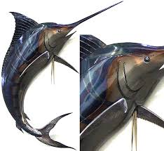 >3d steel marlin sculpture riverstone man cave bar inspiration  3d steel marlin sculpture