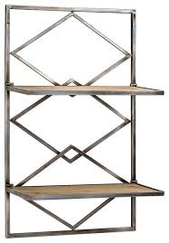 wood and metal hanging shelf rack